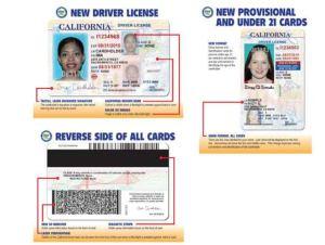 CA DMV drivers license samples