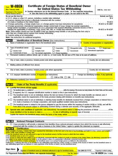 irs-form-w-8ben-2006-older-version-with-certification-language